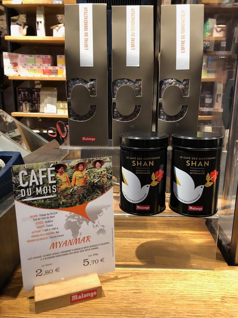 Shan Mountain Coffee at Malongo store in Paris. Photo Credit UNODC